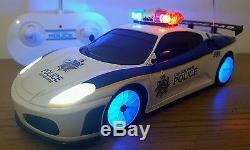 Ferrari Araignée Voiture De Police Radio Télécommande De Voiture Sirène Sonore Rapide Vitesse Leds