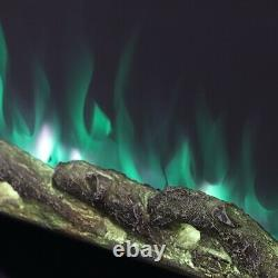 Feu Électrique 50 Pouces Led Cheminée Murale 9 Couleur Flamme Avec Crystal / Log Uk