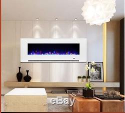 Feu Électrique Mural En Verre Blanc / Noir De 60 Pouces Led'digital Flames 2019