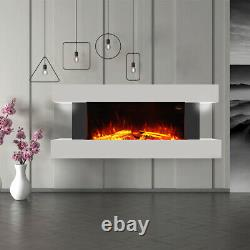 Feu Mural Électrique Grande Cheminée Led White Suite Modern Heater 7 Flame
