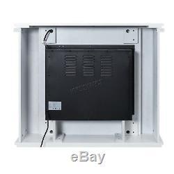 Foxhunter Électrique Led Cheminée 1500w LCD Feu Mdf Cadre À Distance Blanc Fem01
