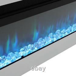 Foyer Électrique De 60 Pouces Flames Led Chauffe-feu Inset Mur / Blanc Autoportant