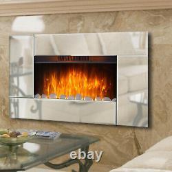 Foyer En Verre Mural Électrique À Écran Large Maison Living Flame Mirror