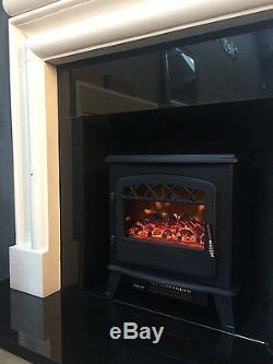 Galleon Feux Castor Cuisinière Électrique Avec Télécommande -led Connexion Flamme Effet Noir