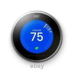 Google Certified Nest 3ème Génération Thermostat Withbase En Acier Inoxydable T3007es