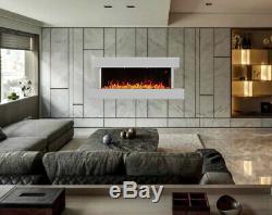Grand Blanc Cheminée Murale Électrique Suite Moderne Feu Haute Heater Gloss