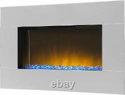 Grand Miroir Chrome Led Mur Monté Cheminée Électrique Diamond Effet Lit Nouveau