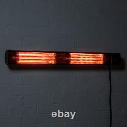 Heatlab Electric Patio Heater Wall Mounted W Télécommande Noire 3kw Ip44
