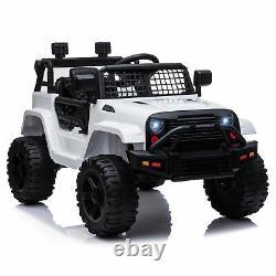 Homcom 12v Enfants Électric Ride Sur Voiture Camion Jouet Tout-terrain Avec Télécommande Blanc