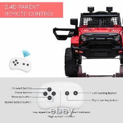 Homcom 12v Enfants Vélo Électrique Sur Voiture Camion Tout-terrain Jouet Avec Télécommande Rouge