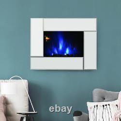Homcom Électrique Cheminée Chauffage Murale Avec Flamme Télécommande Effet