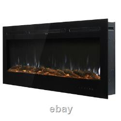 Insertion/montage Mural 40 Pouces De Cheminée Électrique Led Flame Fire Heater Crystals/log