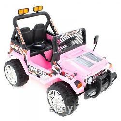 Kids 12v Drifter Electric Ride On Car 4x4 Jeep 2-sièges Télécommande Rose