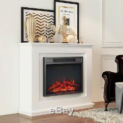 Luxe 1800w Électrique Cheminée Suite Avec Suround Led Bûche Burning Flame