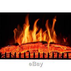 Luxe 2kw Cheminée Électrique Led Feu De Bois De Chauffage Brûler Flamme + Surround Mantel