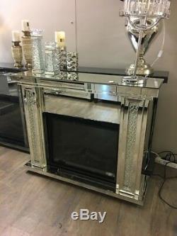 Miroir De Cheminée En Cristal Flottant Vénitien En Verre Avec Feu Électrique