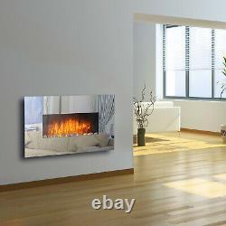 Miroir Électrique En Verre Mural Cheminée Feu Designer Grande Flamme Flicker