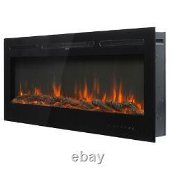 Moderne 50 60 Cheminée Électrique Montée Inset / Wall Fire Log - Crystal Fuel Bed
