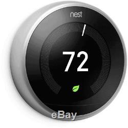 Nest 3ème Génération D'apprentissage Thermostat Programmable En Acier Inoxydable No Base