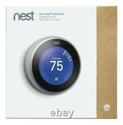 Nest Learning Thermostat 3ème Génération Stainless Smart Home T3007es Silver Nouveau