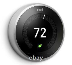 New Nest 3ème Génération D'apprentissage Thermostat Programmable En Acier Inoxydable