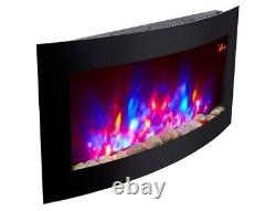 Nouveau 2020 Led 7 Colour Flame Effect Truflame Curved Wall Mounted Electric Fire