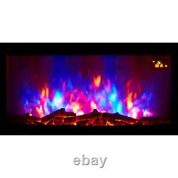 Nouveau 2020 Led Colour Flame Effect Truflame Log Curved Wall Mounted Electric Fire
