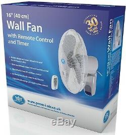 Prem-i-air 16 (40 Cm) Home Office Mur Bureau Ventilateur Avec Télécommande Et Minuterie