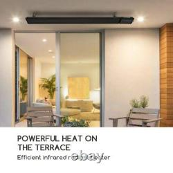 Radiateur Radiant 2400w Ip44 Mur Infrarouge/plafond Télécommande Noire