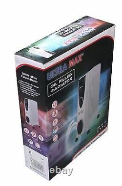 Radiateur Radiateur Portable 11 Fin 2kw Rempli D'huile Électrique Avec Timer & Thermostat