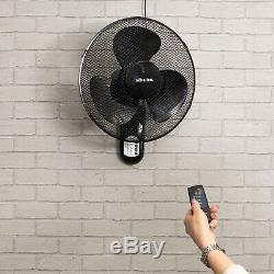 Schallen 16 Oscillant Murale De L'air Frais Du Ventilateur Avec Minuterie Et Télécommande Noire