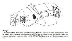 Silent Compact Récupérateur Fan 100mm + Deux Vitesses À Distance Vrc Chaleur Kit De Récupération