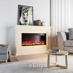 Suite 2 De La Cheminée Électrique De Luxe Led Log Log Flamme Brûlante Mdf Surround XL