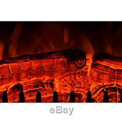Suite De Cheminée De Luxe 2kw Led Log Log Flamme Brûlant + Surround Mdf
