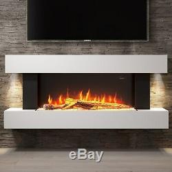 Suite De Cheminée Électrique Murale Blanche Amberglo Avec Lit De Combustible Pour Bûche