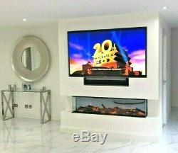 Superbe Panoramique 48 Pouces Hd Feu Électrique Insert 3 Faces Verre Plein Fish Tank