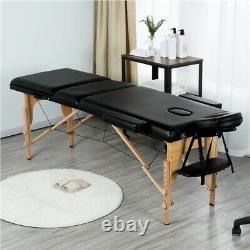 Table De Massage Noir Portable Beauty Bed Salon Couch Bed Pieds En Bois 3 Sections