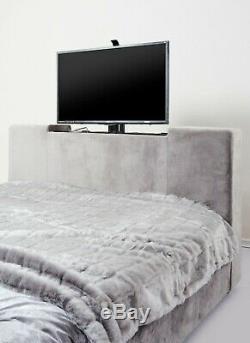 Tv Lit Électrique Télécommande Lift Up Noir Gris Souple Crushed Velvet Chevet