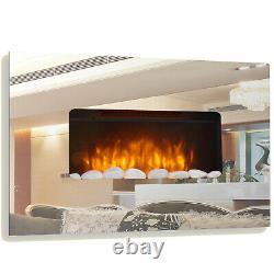 Verre Miroir Cheminée Électrique Fire Designer Grande Murale Flamme Flicker
