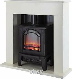 Warmlite Wl45037w Ealing 1.8kw Compact Electric Stove Fireplace Suite, Blanc N