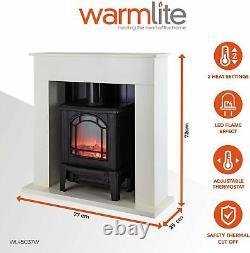 Warmlite Wl45037w Suite De Cheminée Électrique Ealing, Blanc
