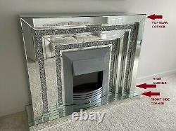 Wfs Homeware 2 Tier Diamond Crushed Mirrored Electric Fireplace 140cm- Endommagé