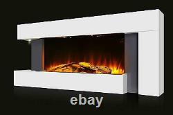 White Gloss Wall Fireplace Suite Électrique Fire Decor Flicker Flame