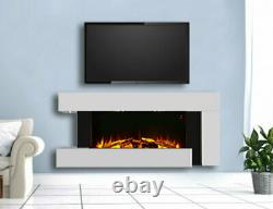 White Wall Mounted Fireplace Suite Electric Fire Home Décor Flicker Flame Logs