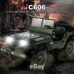 Willys Jeep Off Route Radio Télécommande Rc Camion Réservoir 4 Roues Motrices Militaire De L'armée 2.4ghz